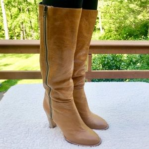 DKNY Double Zip Soft Leather 70's Style Calf Boot
